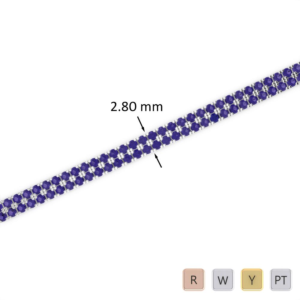 3 Ct Sapphire Bracelet in Gold/Platinum AGBRL-1041