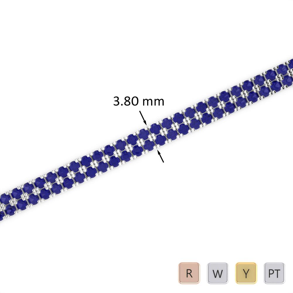 4 Ct Sapphire Bracelet in Gold/Platinum AGBRL-1042
