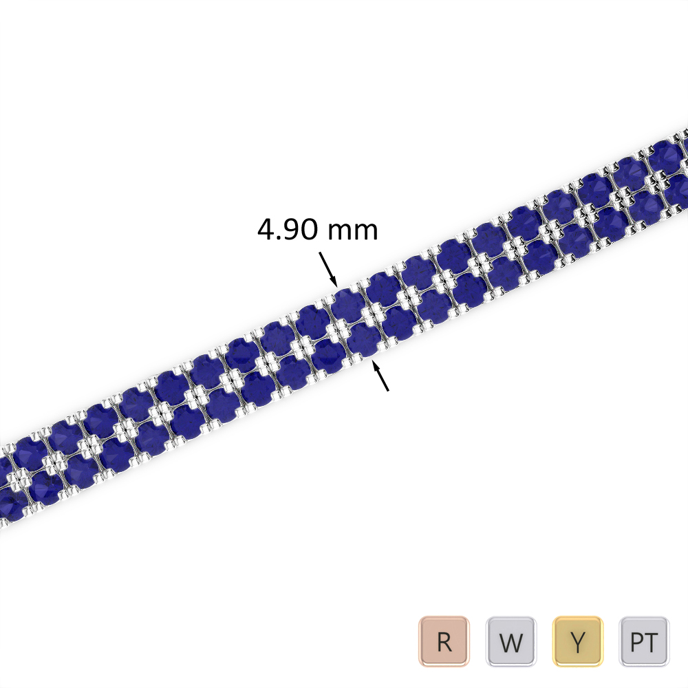 6 Ct Sapphire Bracelet in Gold/Platinum AGBRL-1044