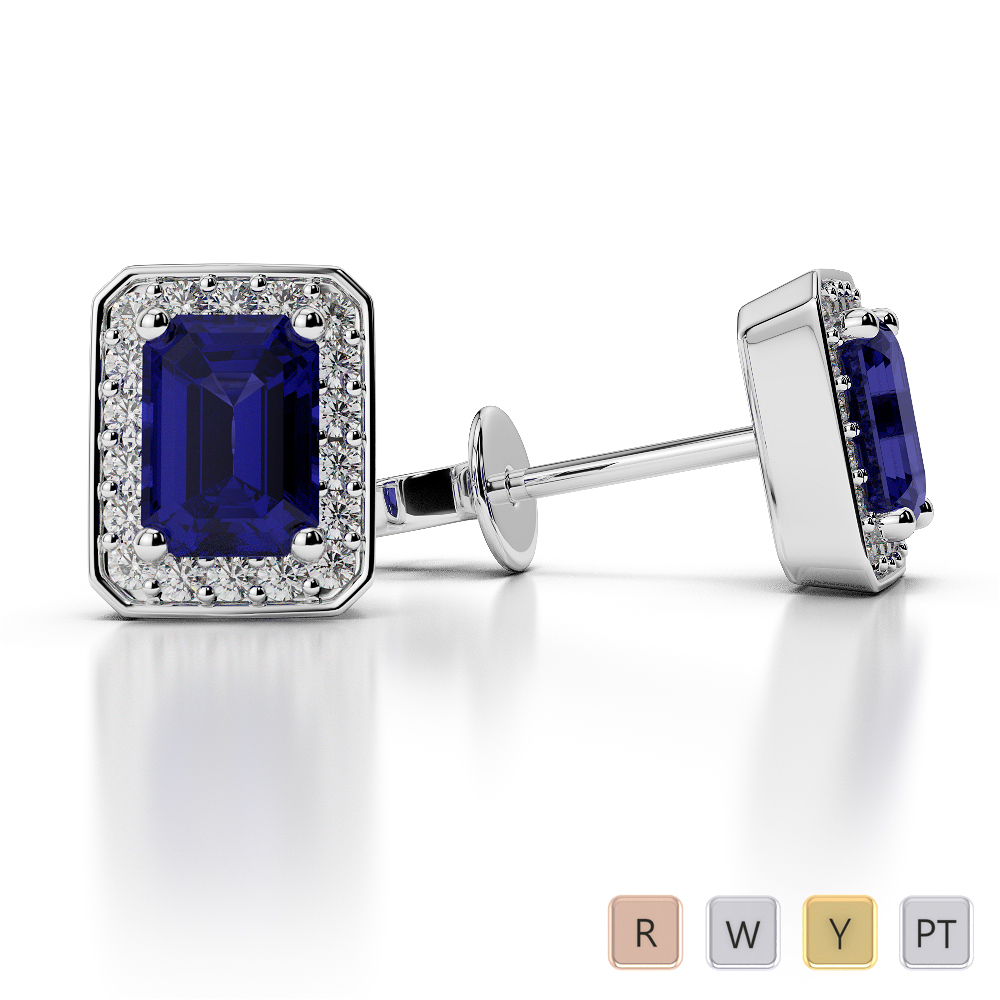 Emerald Shape Sapphire and Diamond Earrings in Gold / Platinum AGER-1063