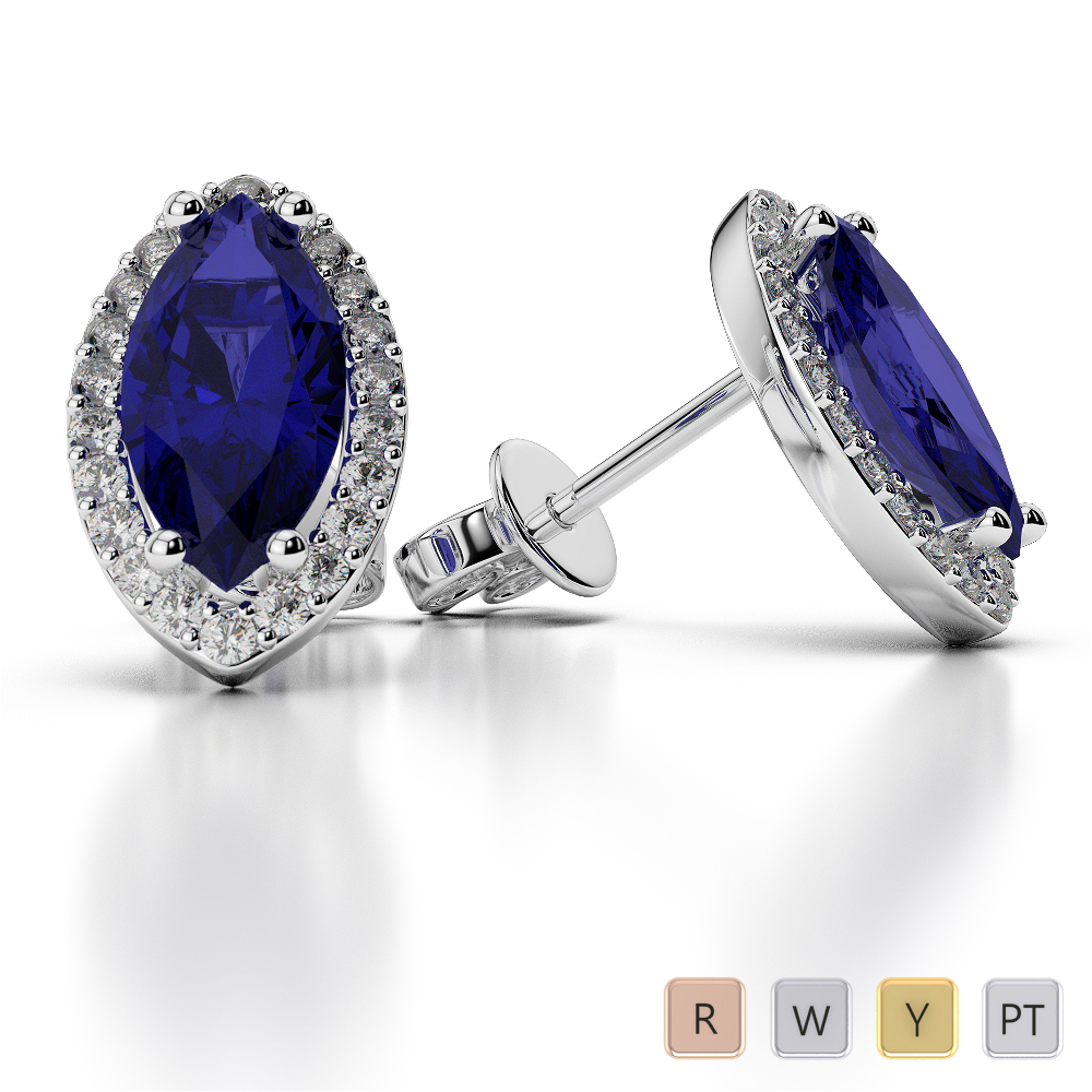 Marquise Shape Sapphire and Diamond Earrings in Gold / Platinum AGER-1067