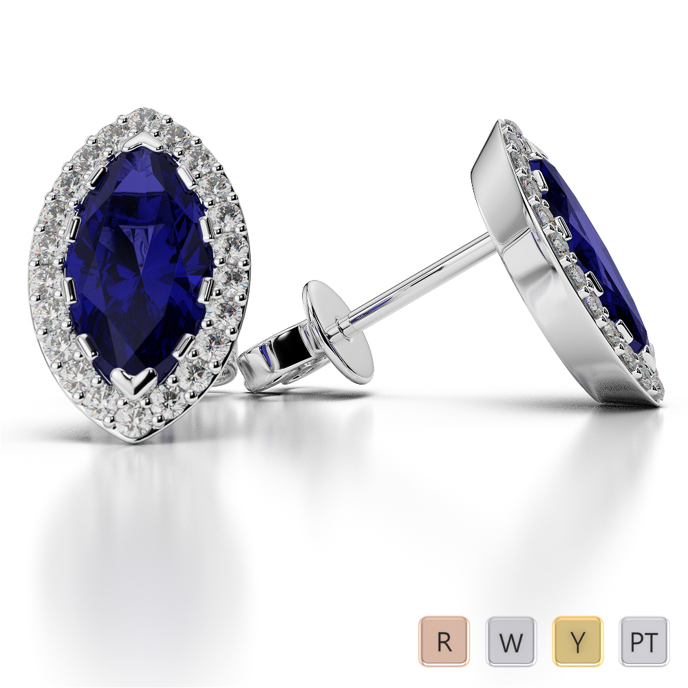 Marquise Shape Sapphire and Diamond Earrings in Gold / Platinum AGER-1068
