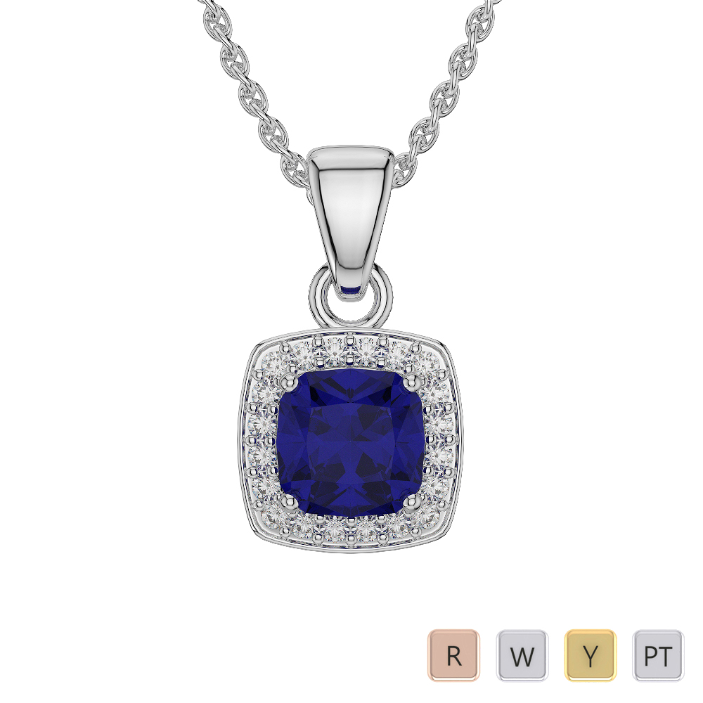 Cushion Shape Tanzanite and Diamond Necklaces in Gold / Platinum AGDNC-1061