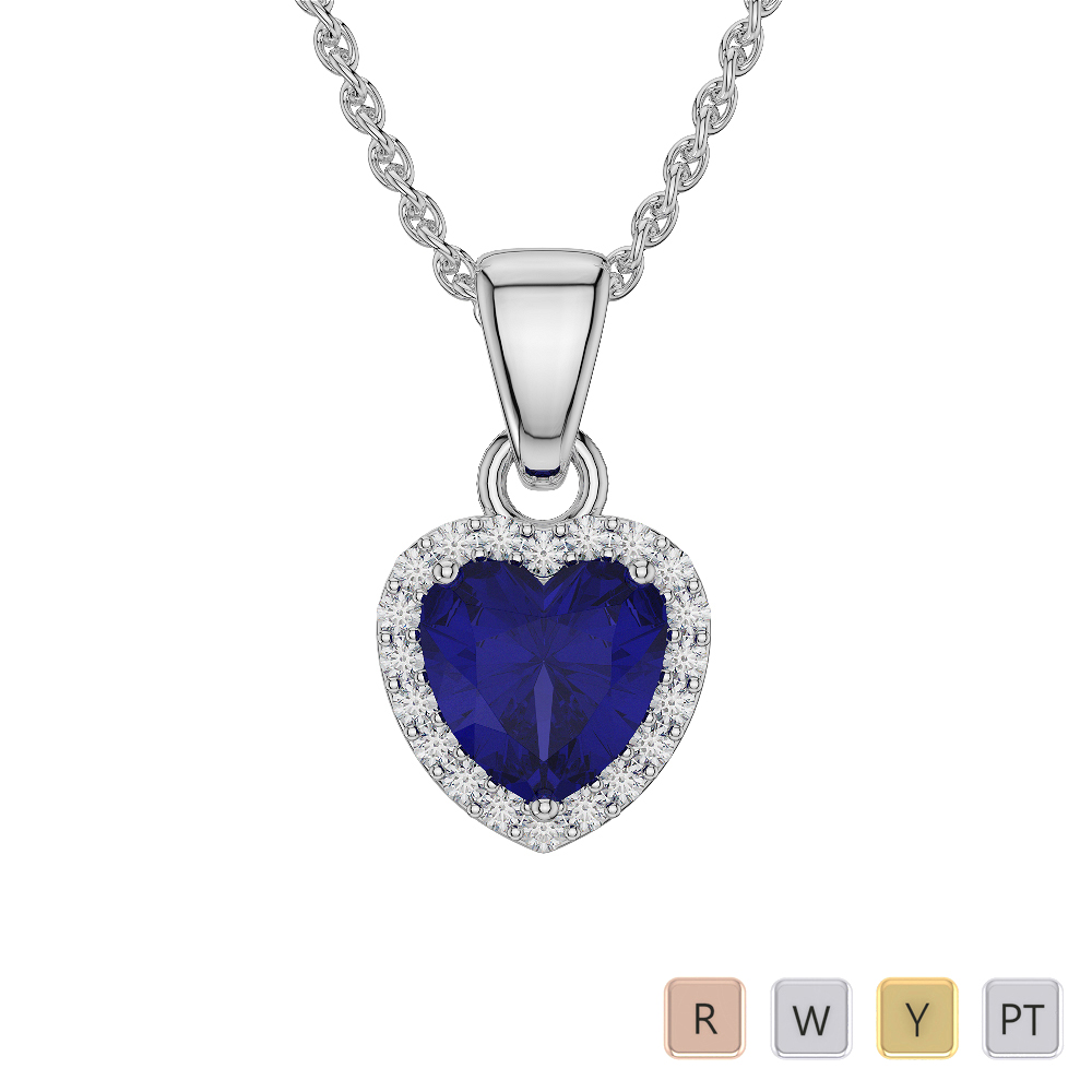 Heart Shape Sapphire and Diamond Necklaces in Gold / Platinum AGDNC-1064