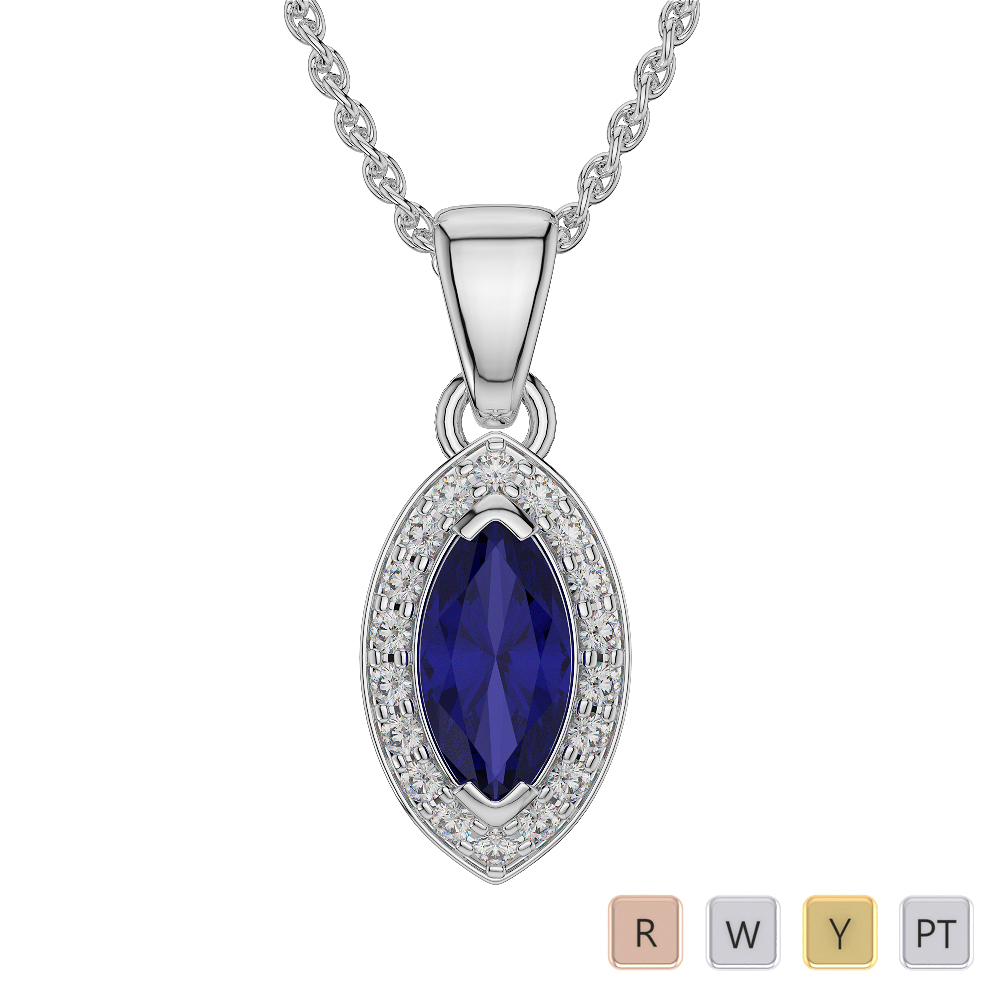 Marquise Shape Sapphire and Diamond Necklaces in Gold / Platinum AGDNC-1069