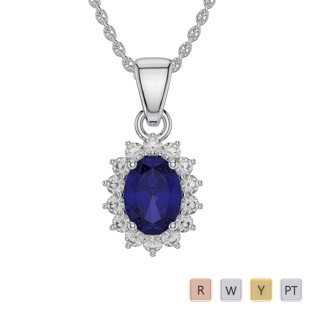 Oval Shape Sapphire and Diamond Necklaces in Gold / Platinum AGDNC-1071