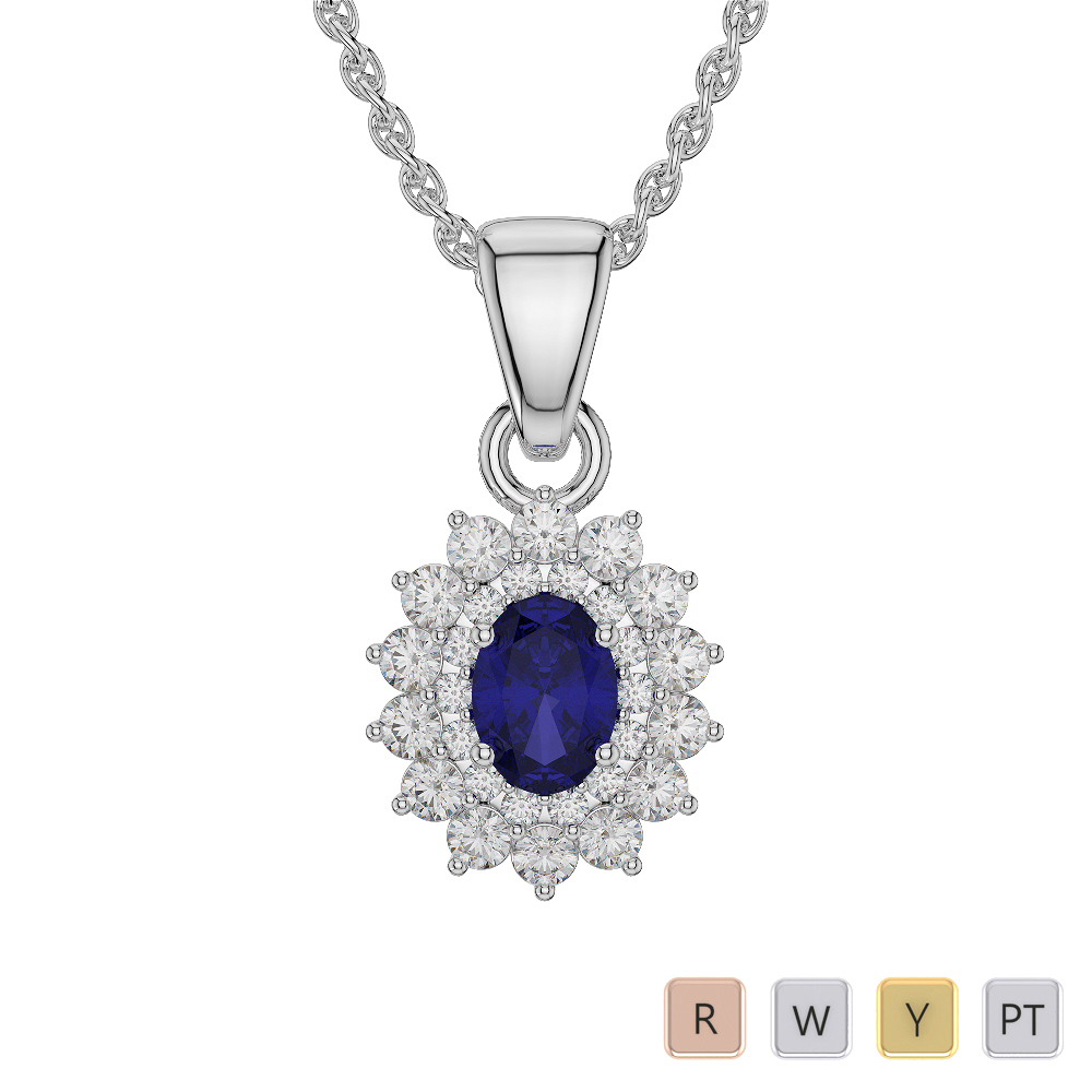 Oval Shape Sapphire and Diamond Necklaces in Gold / Platinum AGDNC-1073