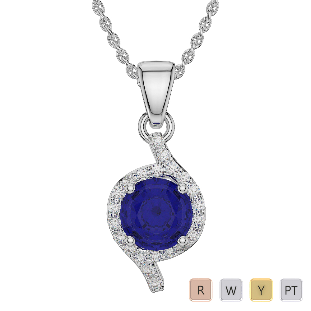 Round Shape Sapphire and Diamond Necklaces in Gold / Platinum AGDNC-1076