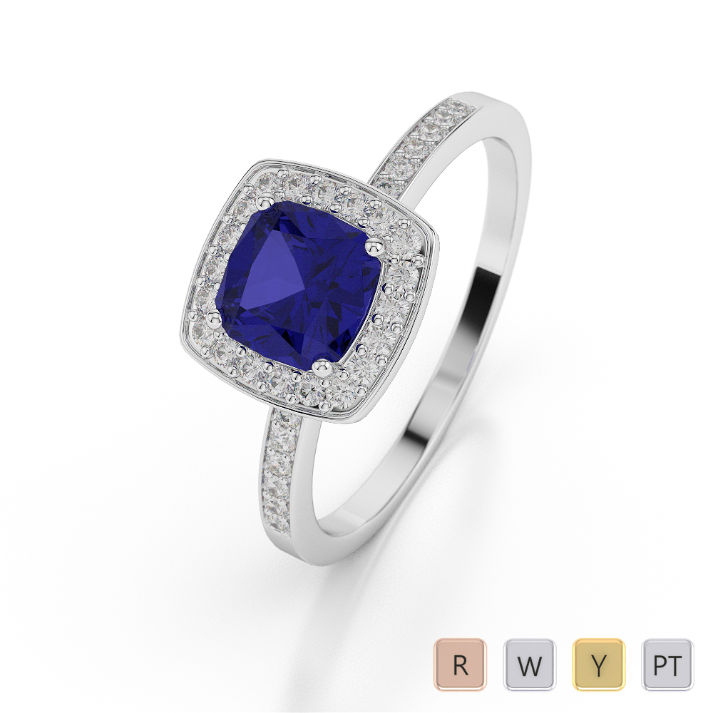 Gold / Platinum Cushion Shape Sapphire and Diamond Ring AGDR-1061