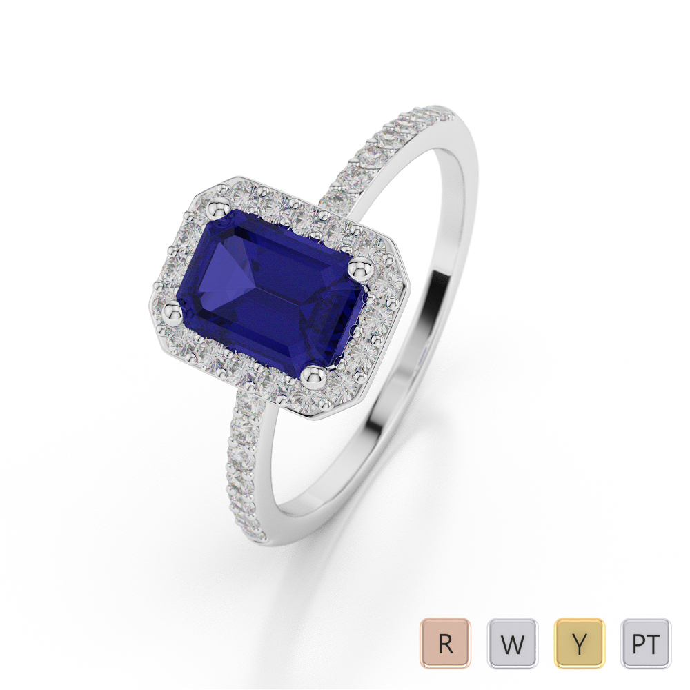 Gold / Platinum Emerald Shape Sapphire and Diamond Ring AGDR-1062