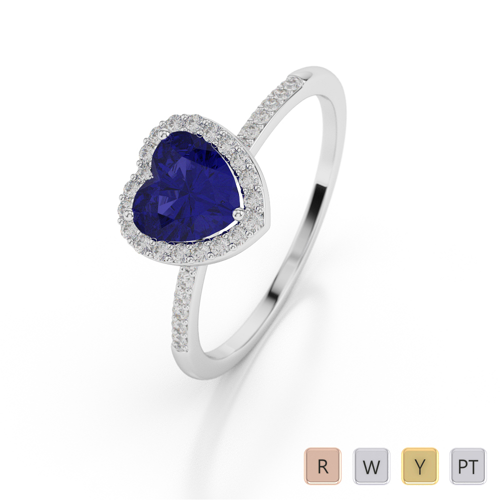 Gold / Platinum Heart Shape Sapphire and Diamond Ring AGDR-1065
