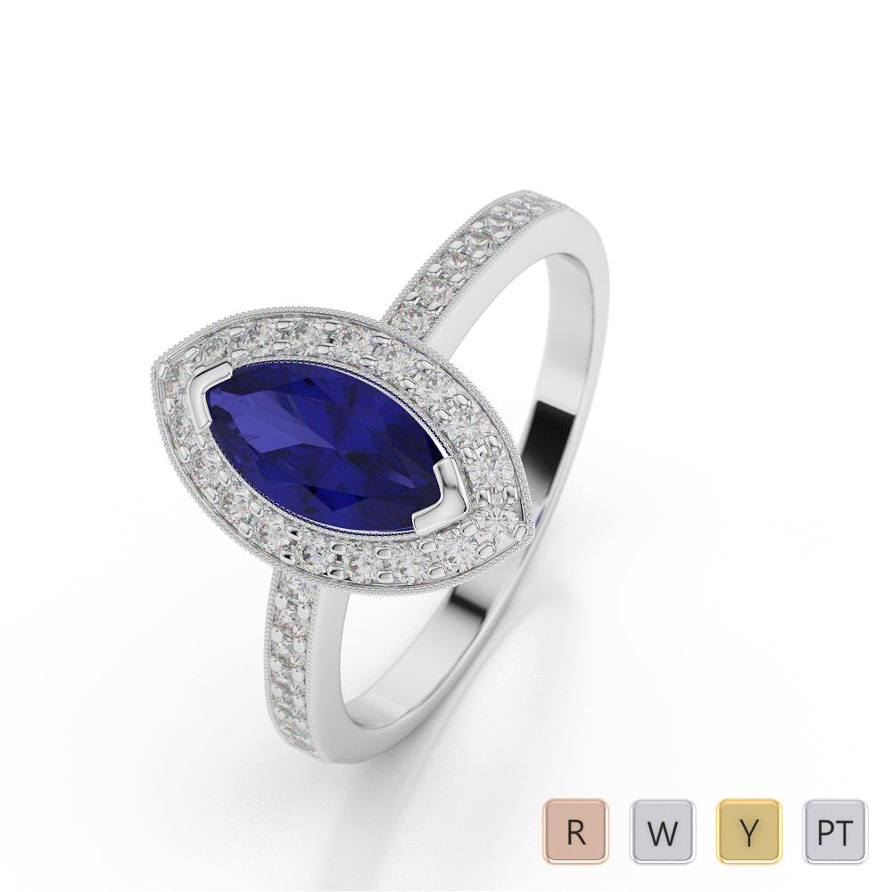 Gold / Platinum Marquise Shape Sapphire and Diamond Ring AGDR-1069