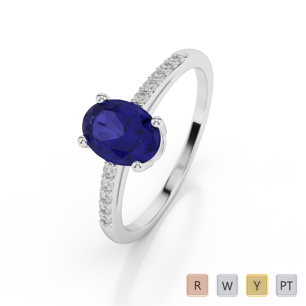 Gold / Platinum Oval Shape Sapphire and Diamond Ring AGDR-1070