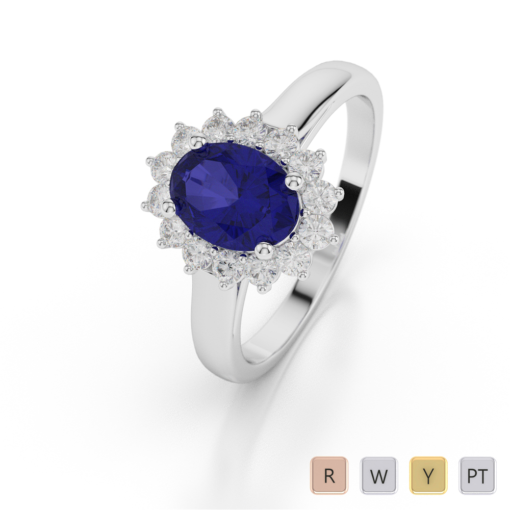 Gold / Platinum Oval Shape Sapphire and Diamond Ring AGDR-1071