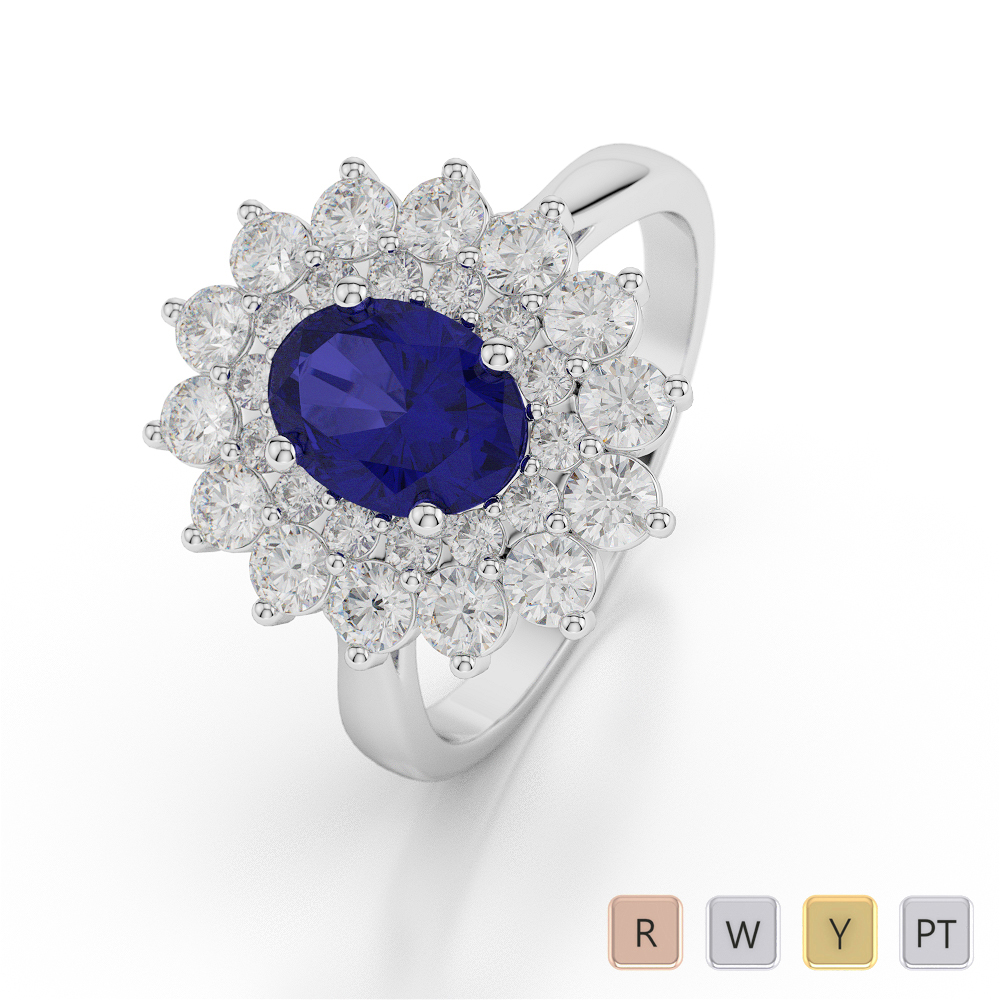 Gold / Platinum Oval Shape Sapphire and Diamond Ring AGDR-1073