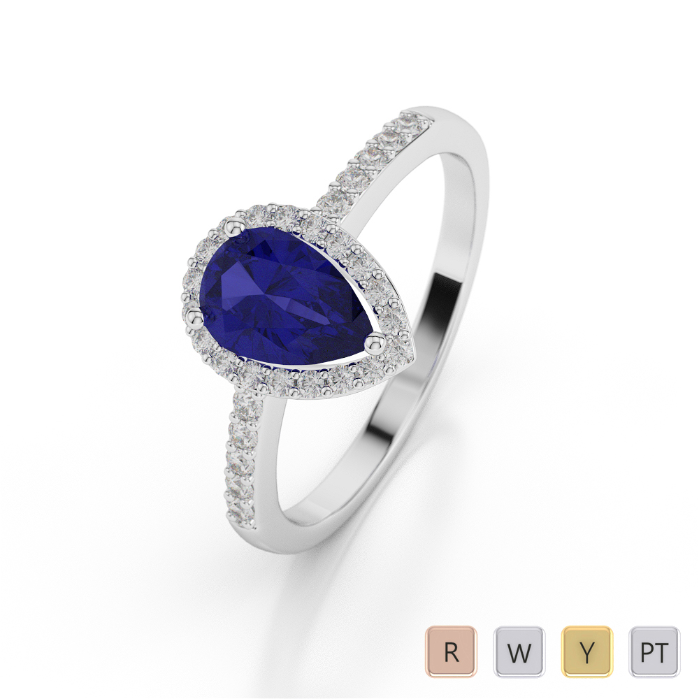 Gold / Platinum Pear Shape Sapphire and Diamond Ring AGDR-1074
