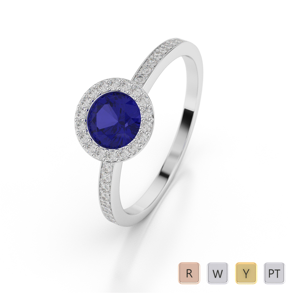 Gold / Platinum Round Shape Sapphire and Diamond Ring AGDR-1075