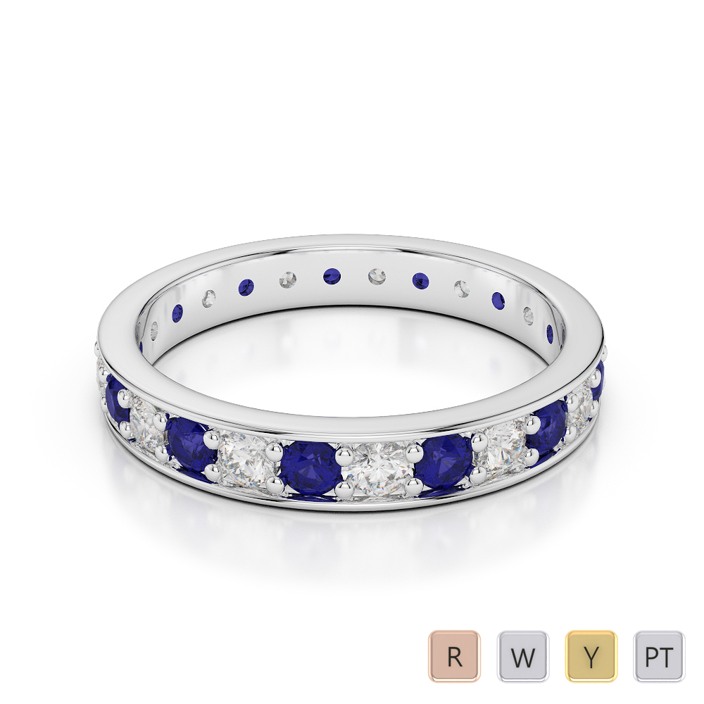 3 MM Gold / Platinum Round Cut Blue Sapphire and Diamond Full Eternity Ring AGDR-1080