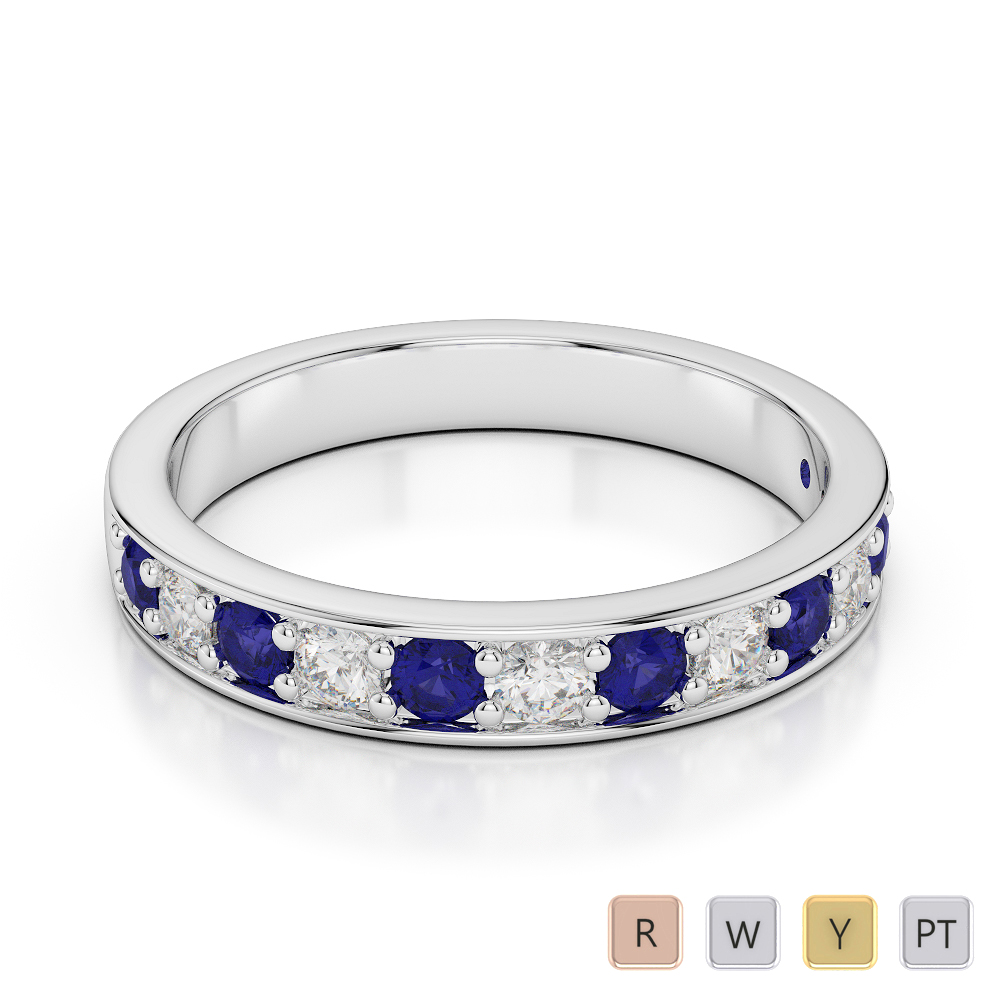 3 MM Gold / Platinum Round Cut Blue Sapphire and Diamond Half Eternity Ring AGDR-1084
