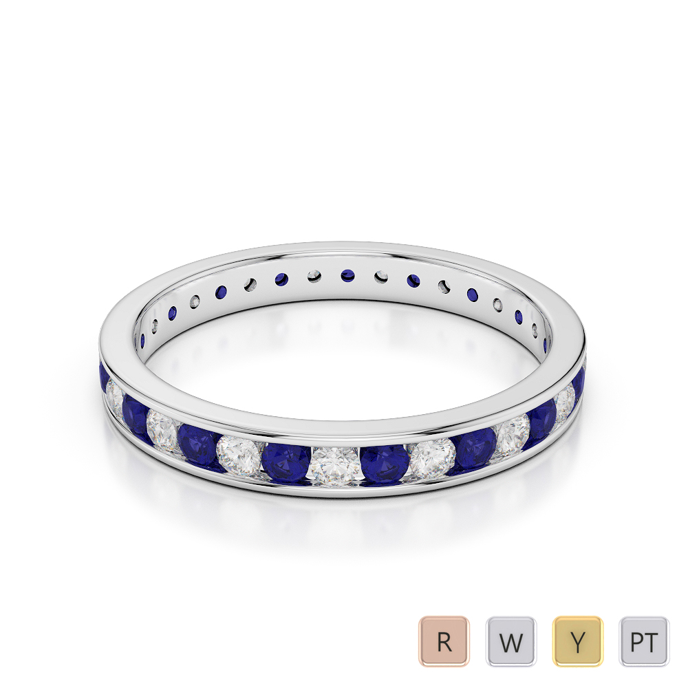 3 MM Gold / Platinum Round Cut Blue Sapphire and Diamond Full Eternity Ring AGDR-1087