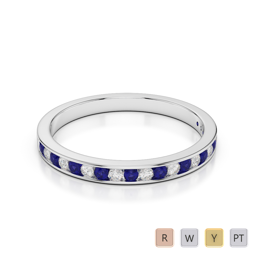 2.5 MM Gold / Platinum Round Cut Blue Sapphire and Diamond Half Eternity Ring AGDR-1089