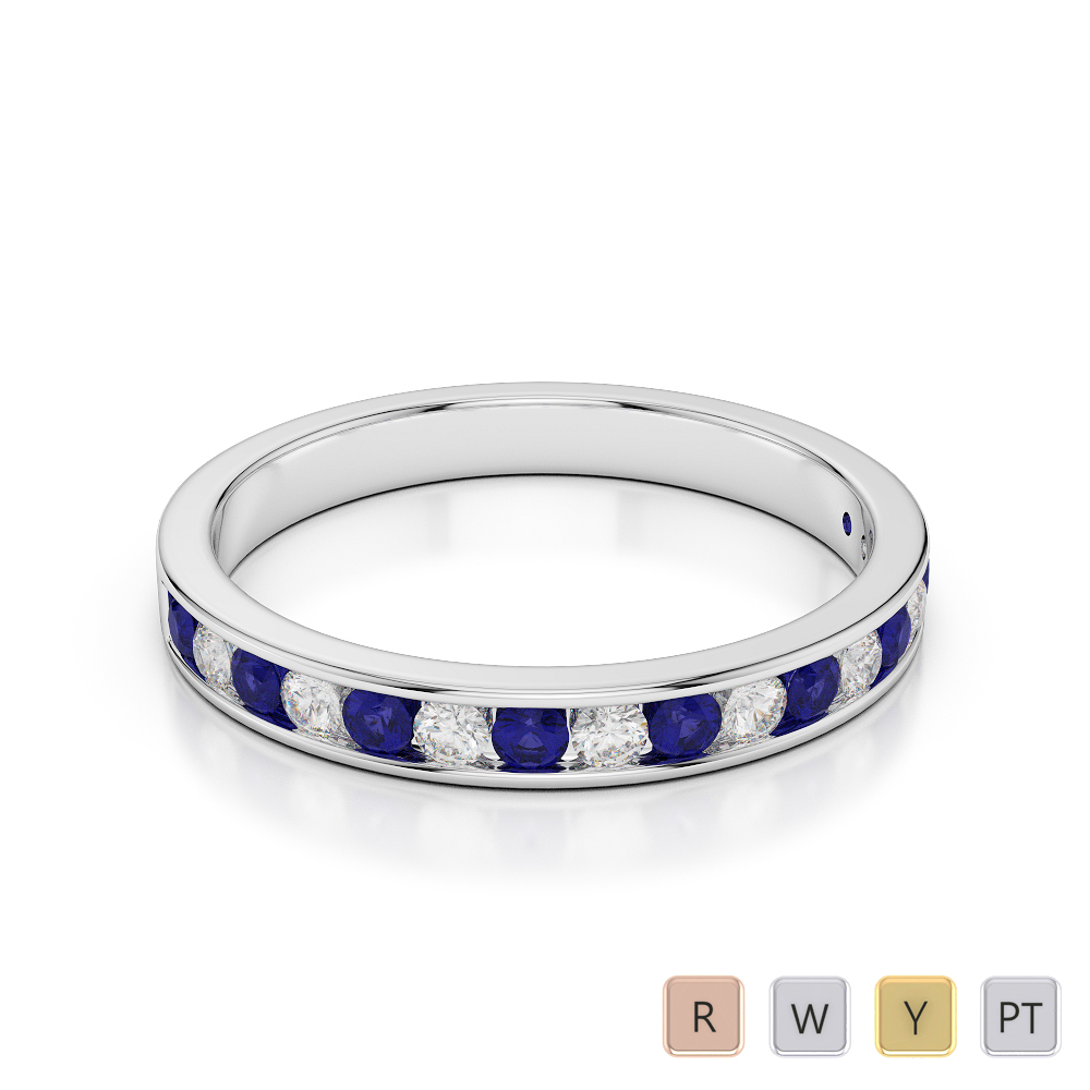 3 MM Gold / Platinum Round Cut Blue Sapphire and Diamond Half Eternity Ring AGDR-1090