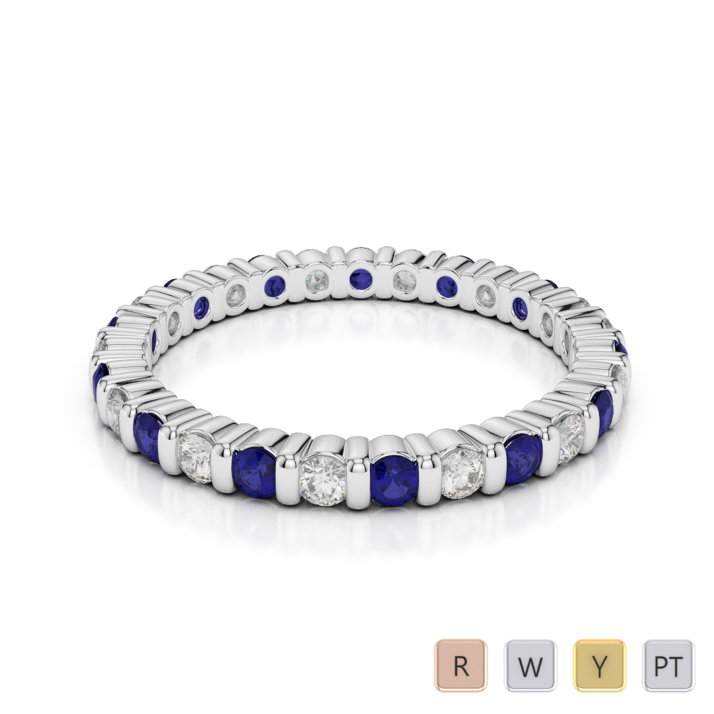 2 MM Gold / Platinum Round Cut Blue Sapphire and Diamond Full Eternity Ring AGDR-1092