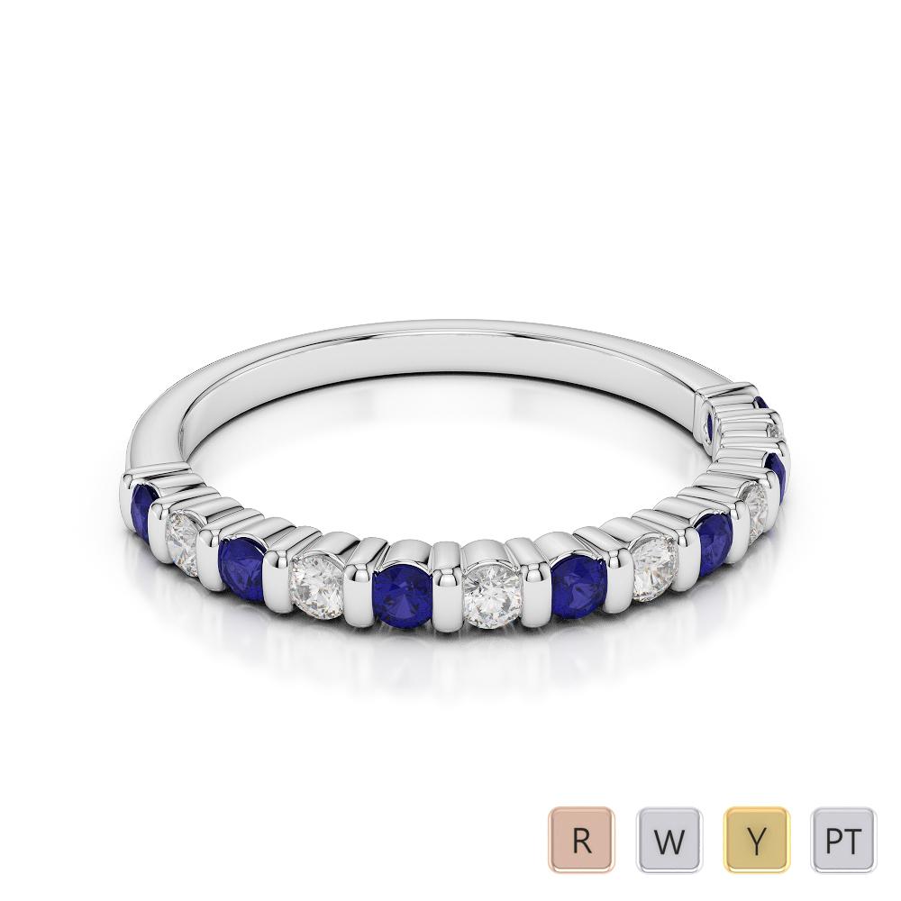 2 MM Gold / Platinum Round Cut Blue Sapphire and Diamond Half Eternity Ring AGDR-1095