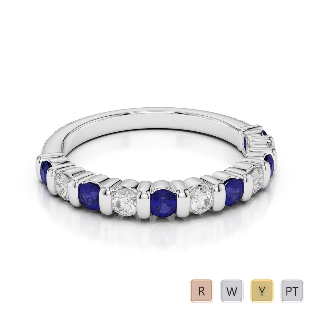 2.5 MM Gold / Platinum Round Cut Blue Sapphire and Diamond Half Eternity Ring AGDR-1096