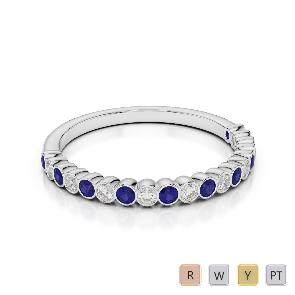 2 MM Gold / Platinum Round Cut Blue Sapphire and Diamond Half Eternity Ring AGDR-1101