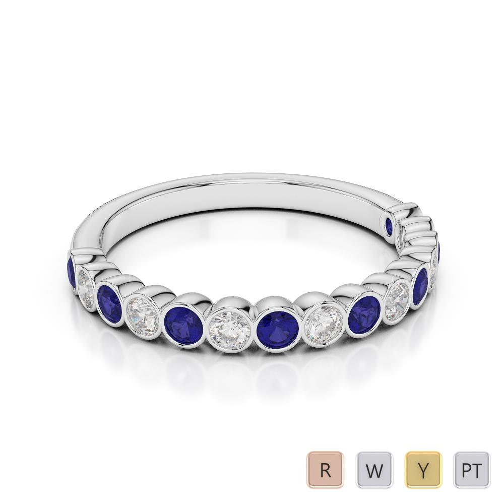 2.5 MM Gold / Platinum Round Cut Blue Sapphire and Diamond Half Eternity Ring AGDR-1102
