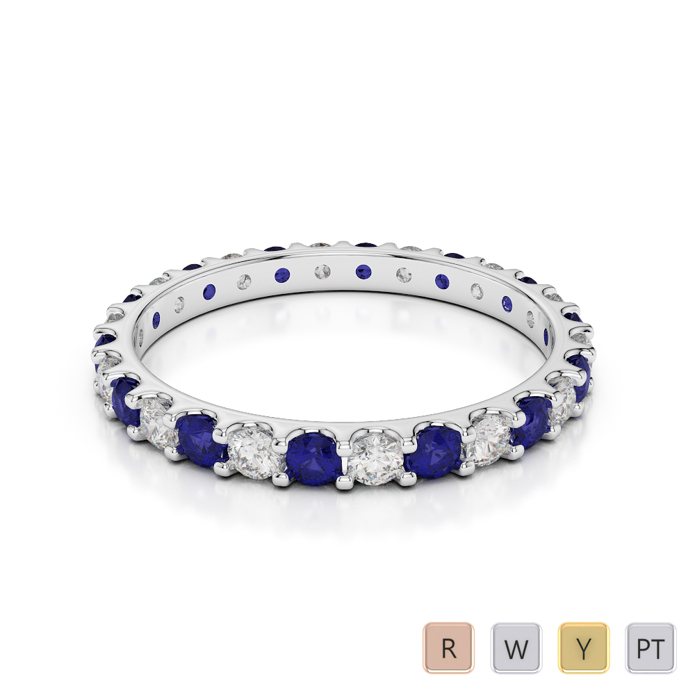 2 MM Gold / Platinum Round Cut Blue Sapphire and Diamond Full Eternity Ring AGDR-1104
