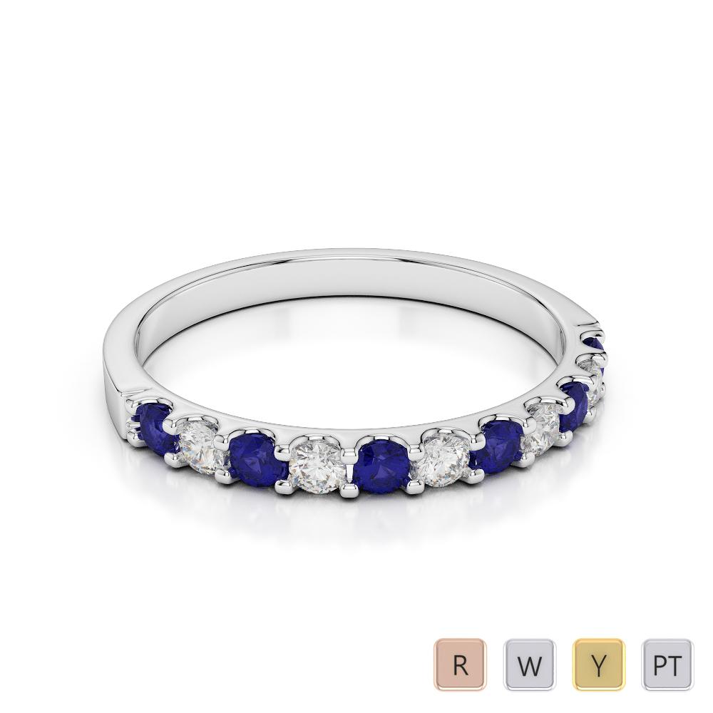 2 MM Gold / Platinum Round Cut Blue Sapphire and Diamond Half Eternity Ring AGDR-1107