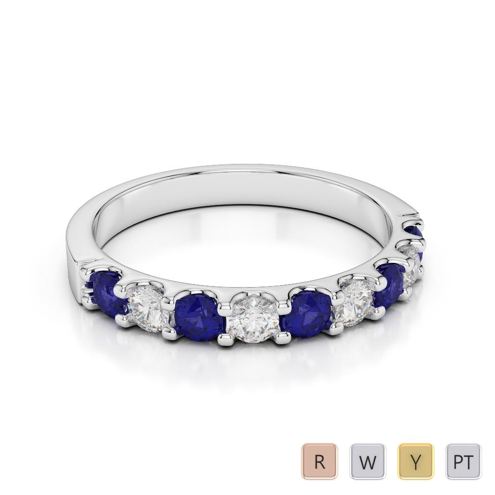 2.5 MM Gold / Platinum Round Cut Blue Sapphire and Diamond Half Eternity Ring AGDR-1108