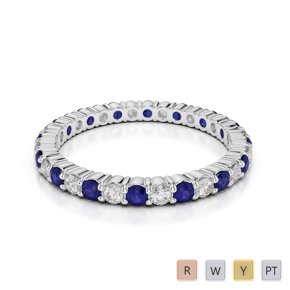 2 MM Gold / Platinum Round Cut Blue Sapphire and Diamond Full Eternity Ring AGDR-1110