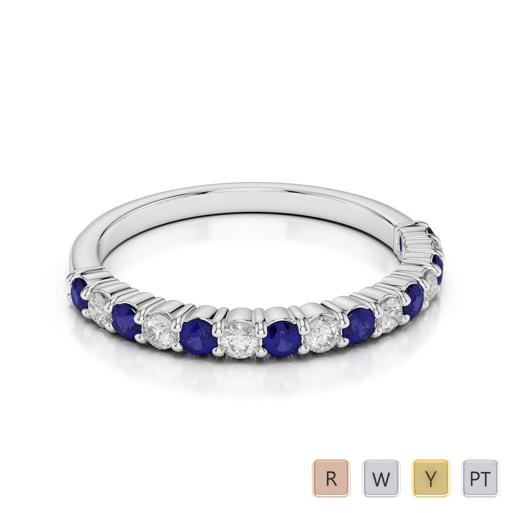 2 MM Gold / Platinum Round Cut Blue Sapphire and Diamond Half Eternity Ring AGDR-1113