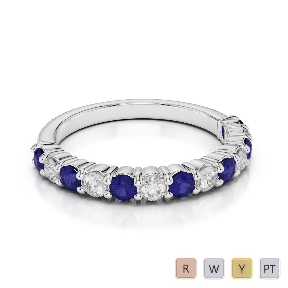 2.5 MM Gold / Platinum Round Cut Blue Sapphire and Diamond Half Eternity Ring AGDR-1114