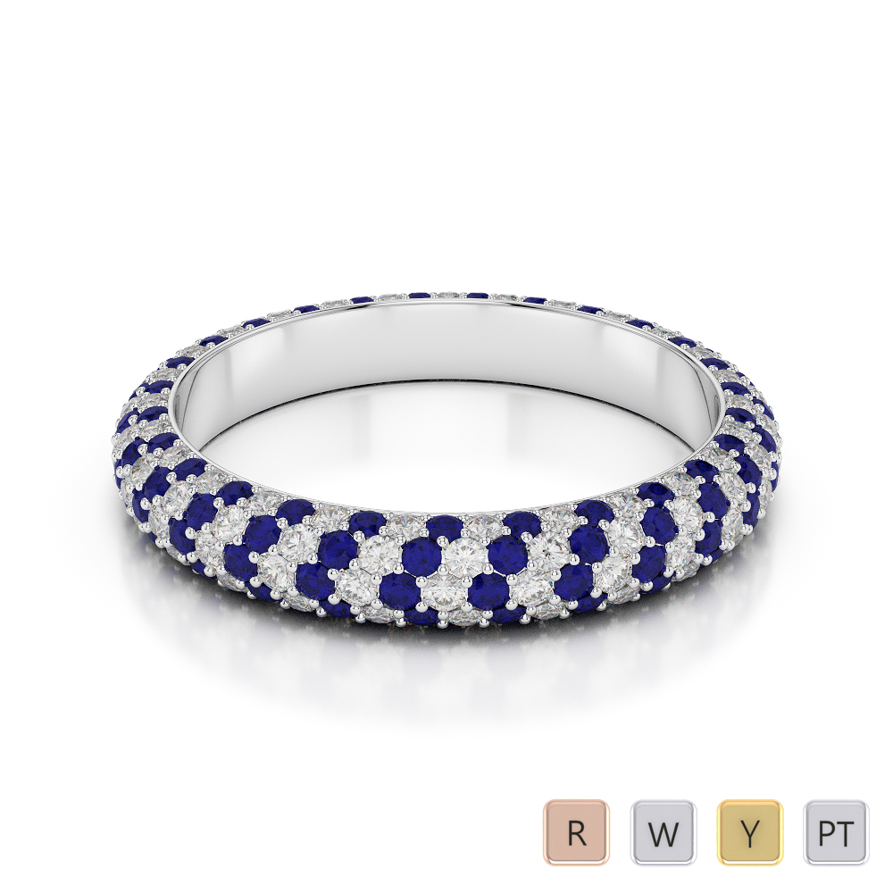 4 MM Gold / Platinum Round Cut Blue Sapphire and Diamond Full Eternity Ring AGDR-1116
