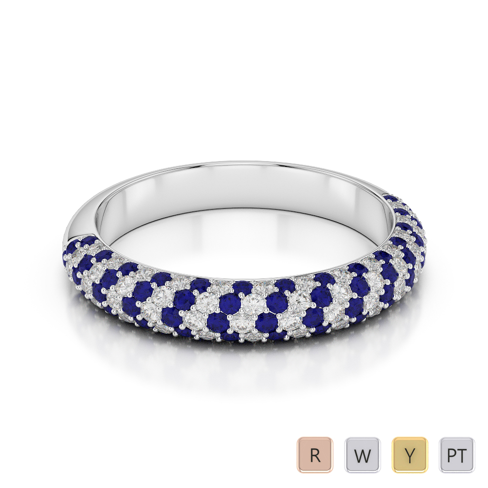 Gold / Platinum Round Cut Blue Sapphire and Diamond Half Eternity Ring AGDR-1118