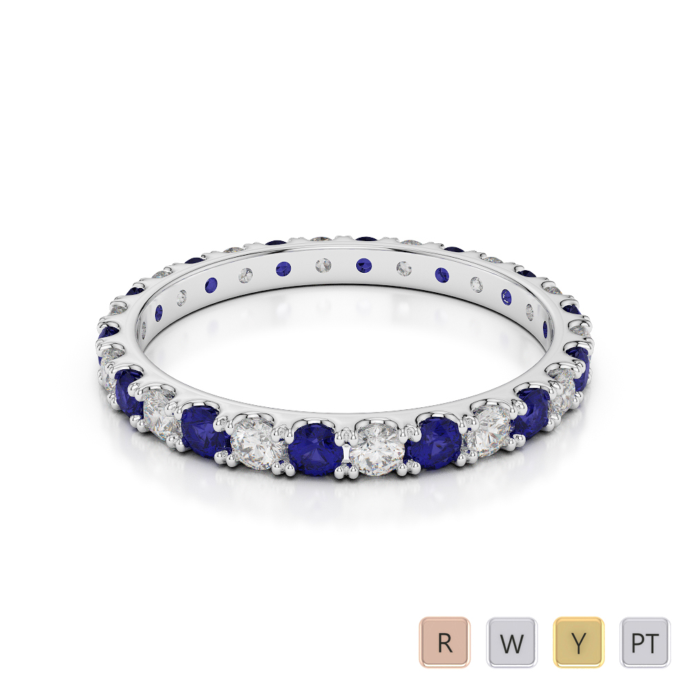 2 MM Gold / Platinum Round Cut Blue Sapphire and Diamond Full Eternity Ring AGDR-1120