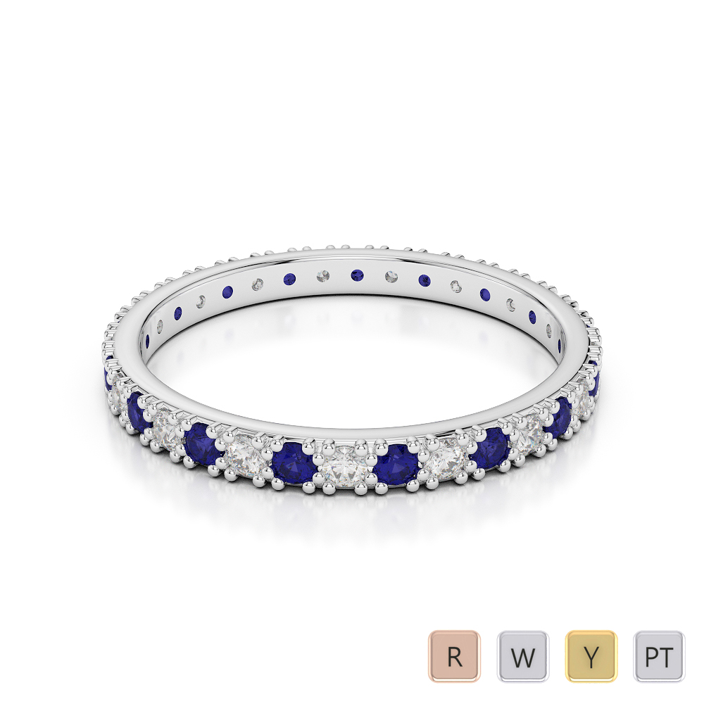 2 MM Gold / Platinum Round Cut Blue Sapphire and Diamond Full Eternity Ring AGDR-1126