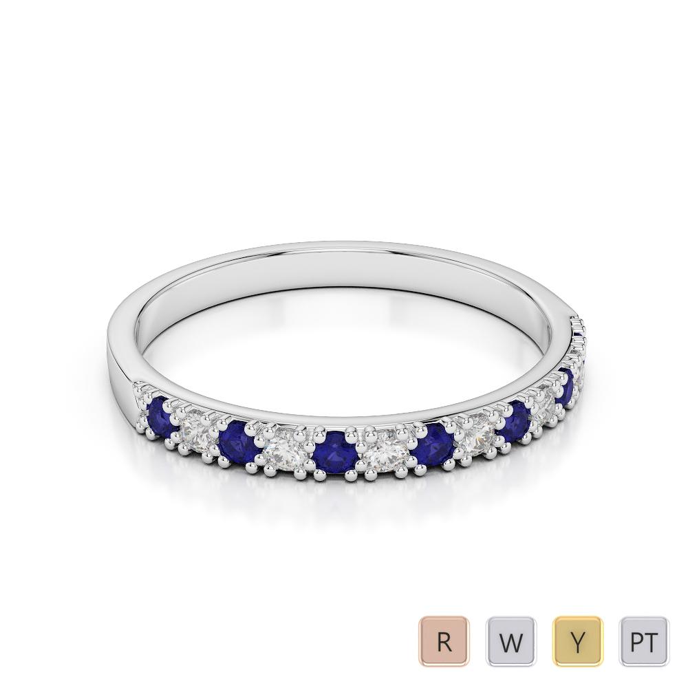 2.5 MM Gold / Platinum Round Cut Blue Sapphire and Diamond Half Eternity Ring AGDR-1129