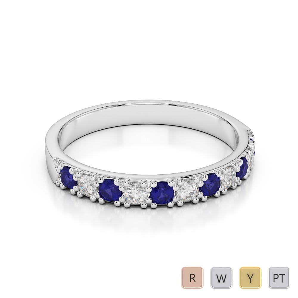 3 MM Gold / Platinum Round Cut Blue Sapphire and Diamond Half Eternity Ring AGDR-1130