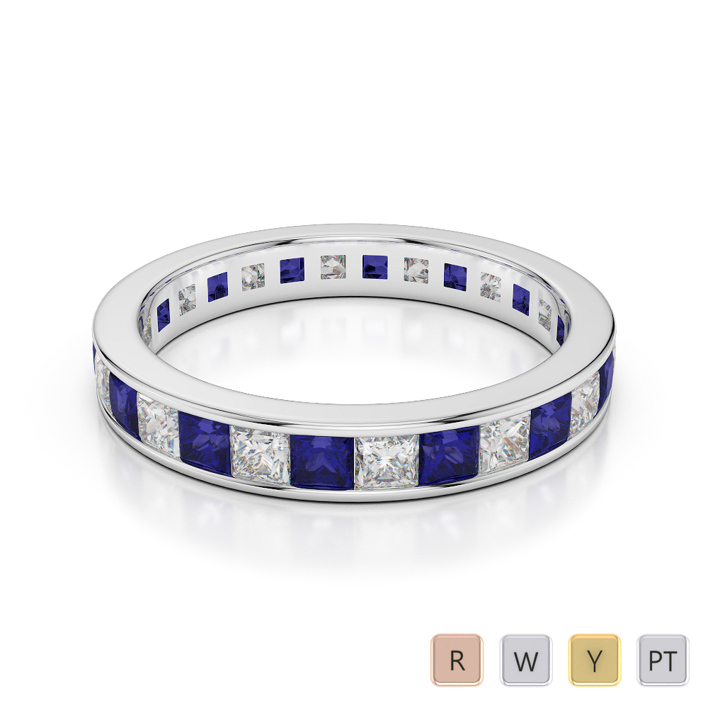 3 MM Gold / Platinum Princess Cut Blue Sapphire and Diamond Full Eternity Ring AGDR-1133