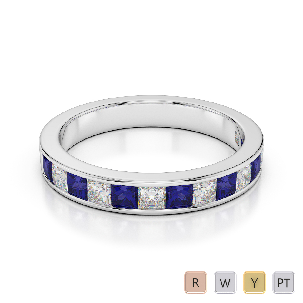 Gold / Platinum Princess Cut Blue Sapphire and Diamond Half Eternity Ring AGDR-1136