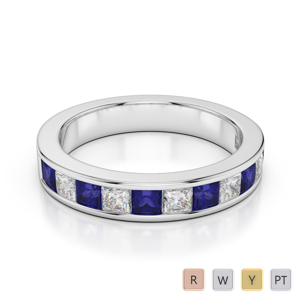 4 MM Gold / Platinum Princess Cut Blue Sapphire and Diamond Half Eternity Ring AGDR-1137