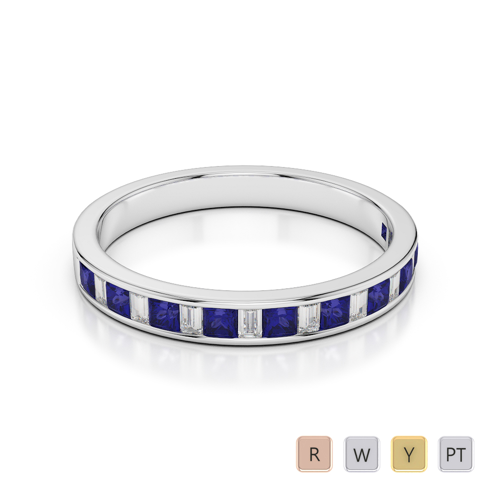 3 MM Gold / Platinum Princess and Baguette Cut Blue Sapphire and Diamond Half Eternity Ring AGDR-1142