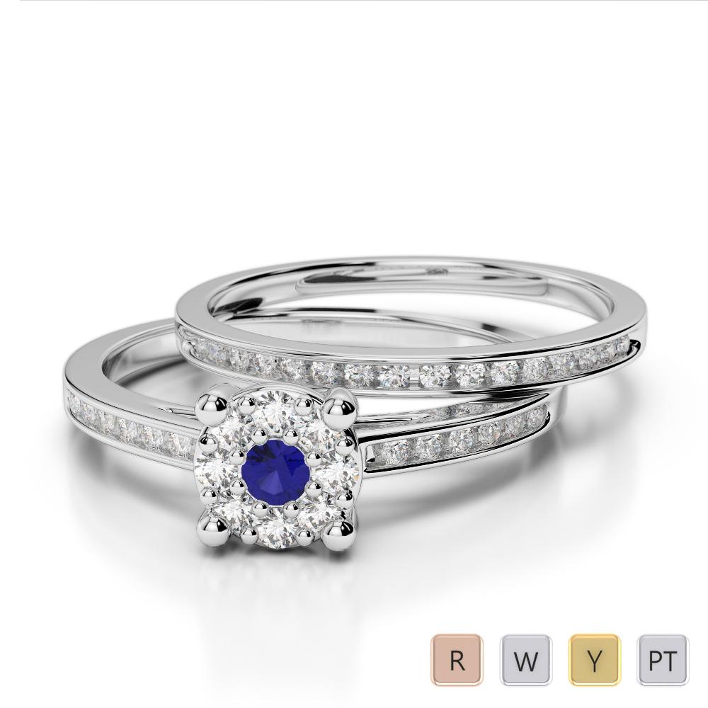 Gold / Platinum Round cut Sapphire and Diamond Bridal Set Ring AGDR-1052
