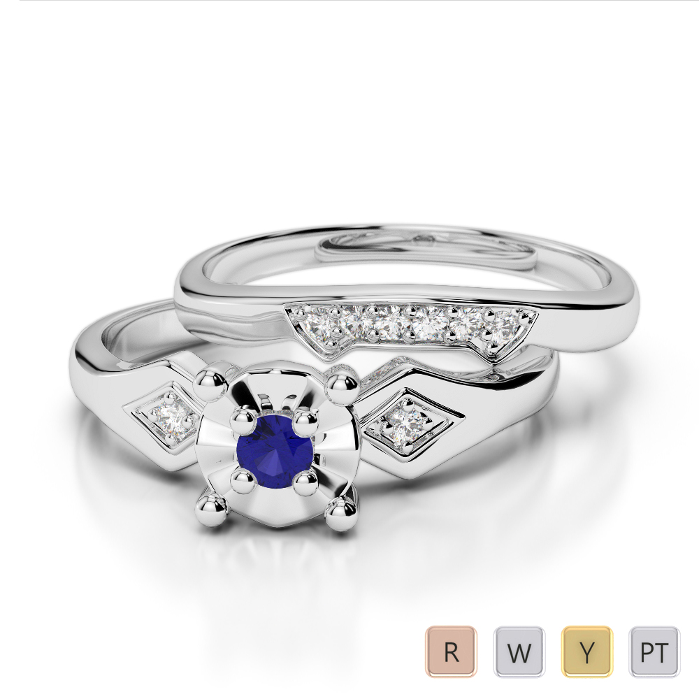 Gold / Platinum Round cut Sapphire and Diamond Bridal Set Ring AGDR-1058