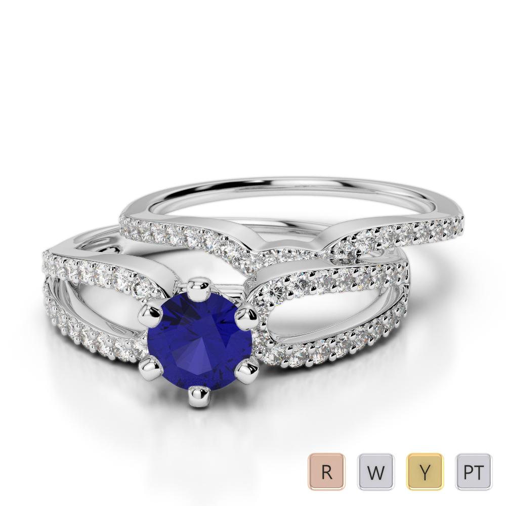 Gold / Platinum Round cut Sapphire and Diamond Bridal Set Ring AGDR-1148